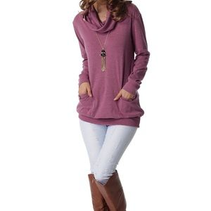 Tops - Long Sleeve Button Cowl Neck Casual Slim Tunic Top